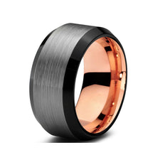 Black&rose gold color tungsten ring cool brushed&beveled tungsten wedding ring for men and women