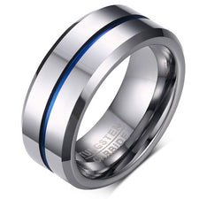 2017 NEW Fashion Thin Blue Line pure Tungsten Ring Wedding 8MM Tungsten Carbide Rings for Men high quality Jewelry