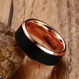 Black and rose gold color Tungsten steel Ring Wedding Bands 8MM Tungsten Carbide Rings for Men Jewelry