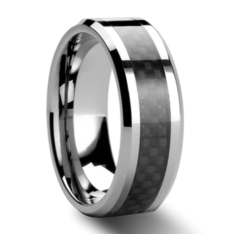 Black Carbon Fiber Tungsten Carbide Ring Mens Wedding Band Size 6 - 13 (#NR05BC)