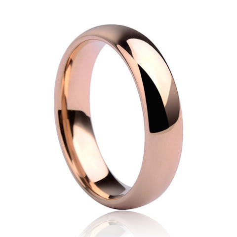 New Fashion 3.5mm/5mm Rose Gold Plating Tungsten Rings Wedding Dome Band Couples' Rings Jewelry Free Shipping Size 5-14