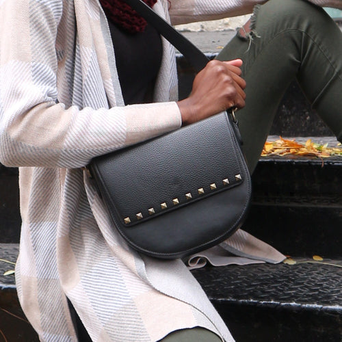 Black Leather Saddle Bag with Rectangular Studs flap