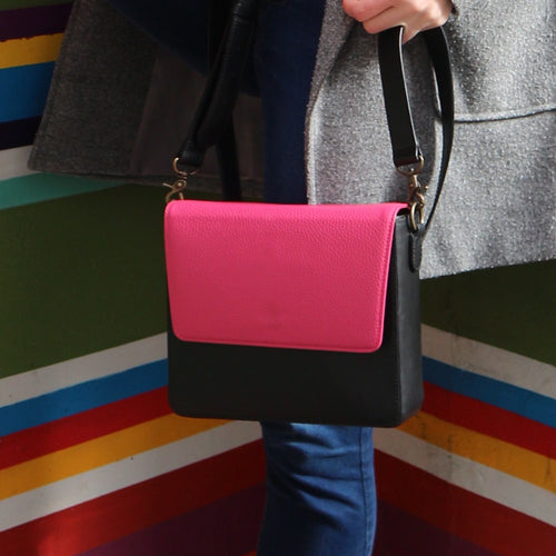 Black Leather Bag with Hot Pink rectangular flap
