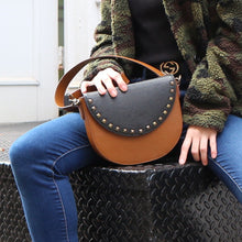 Brown Leather Saddle Bag with Black Studs half-moon Flap