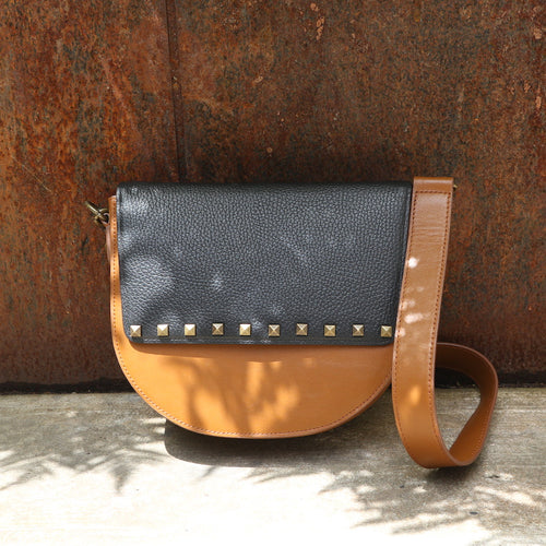 Brown Leather Saddle Bag with Black Studs rectangular Flap