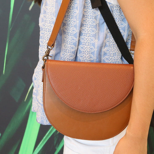 Brown Leather Saddle Bag with Brown half-moon Flap
