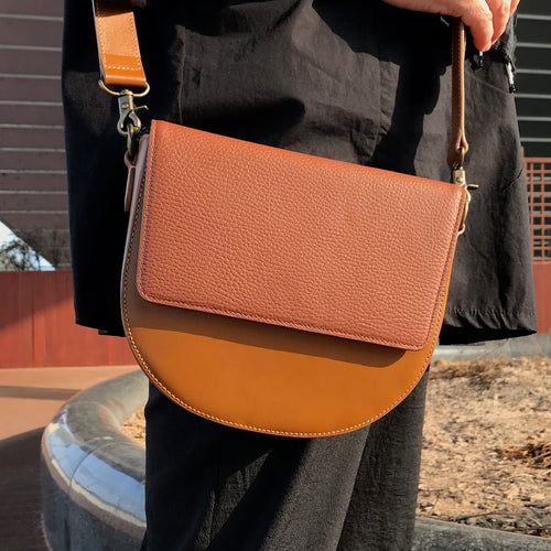 Brown Leather Saddle Bag with Brown rectangular Flap