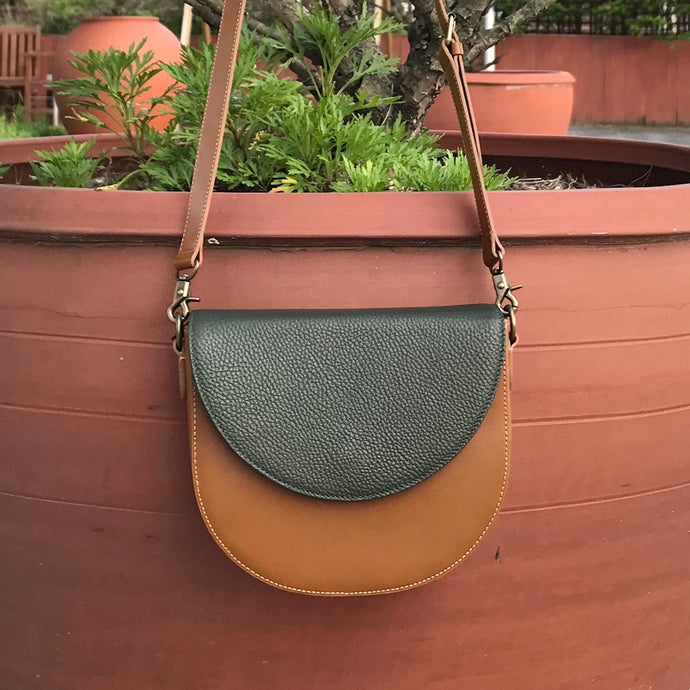 Brown Leather Saddle Bag with Dark Olive Green half-moon Flap
