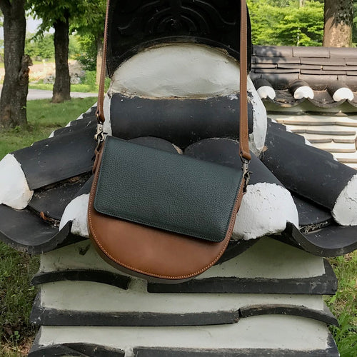 Brown Leather Saddle Bag with Dark Olive Green rectangular Flap