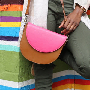 Brown Leather Saddle Bag with Hot Pink half-moon Flap