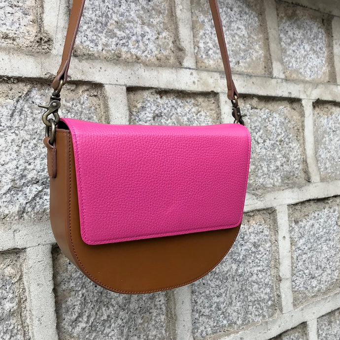 Brown Leather Saddle Bag with Hot Pink rectangular Flap