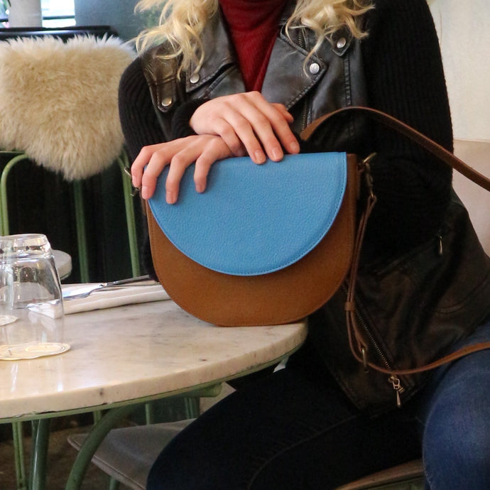 Brown Leather Saddle Bag with Ocean Blue half-moon Flap