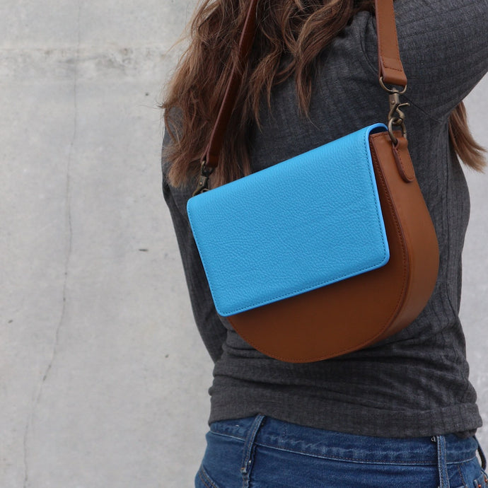 Brown Leather Saddle Bag with Ocean Blue rectangular Flap