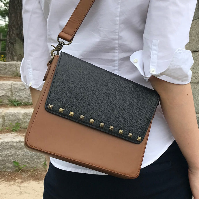 Brown Leather Bag with Black Studs rectangular flap