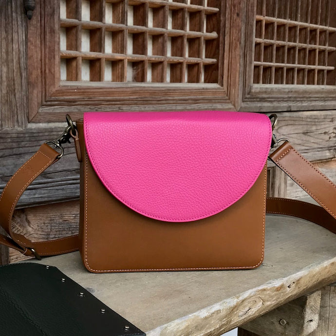 Brown Leather Bag with Hot Pink half-moon flap