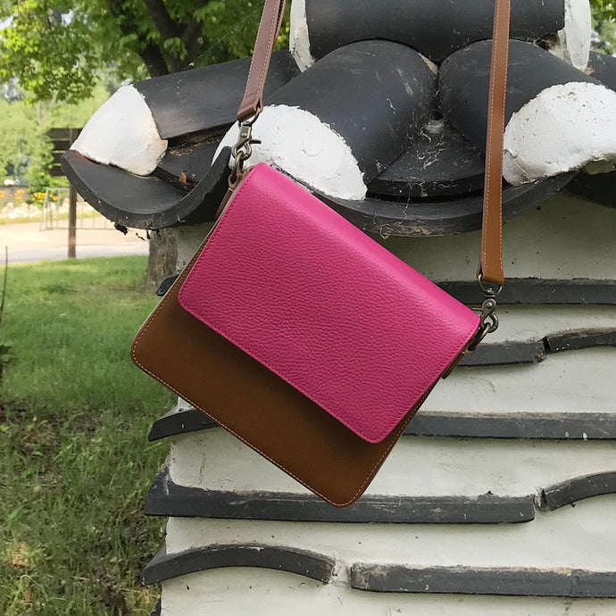 Brown Leather Bag with Hot Pink rectangular flap