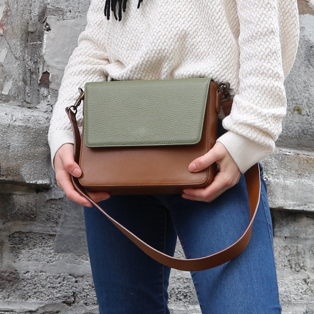 Brown Leather Bag with Light Olive Green rectangular flap