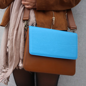 Brown Leather Bag with Ocean Blue rectangular flap