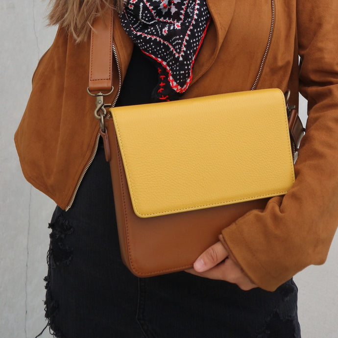 Brown Leather Bag with Yellow rectangular flap