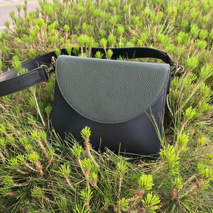 Black Leather Bag with Dark Olive Green half-moon flap