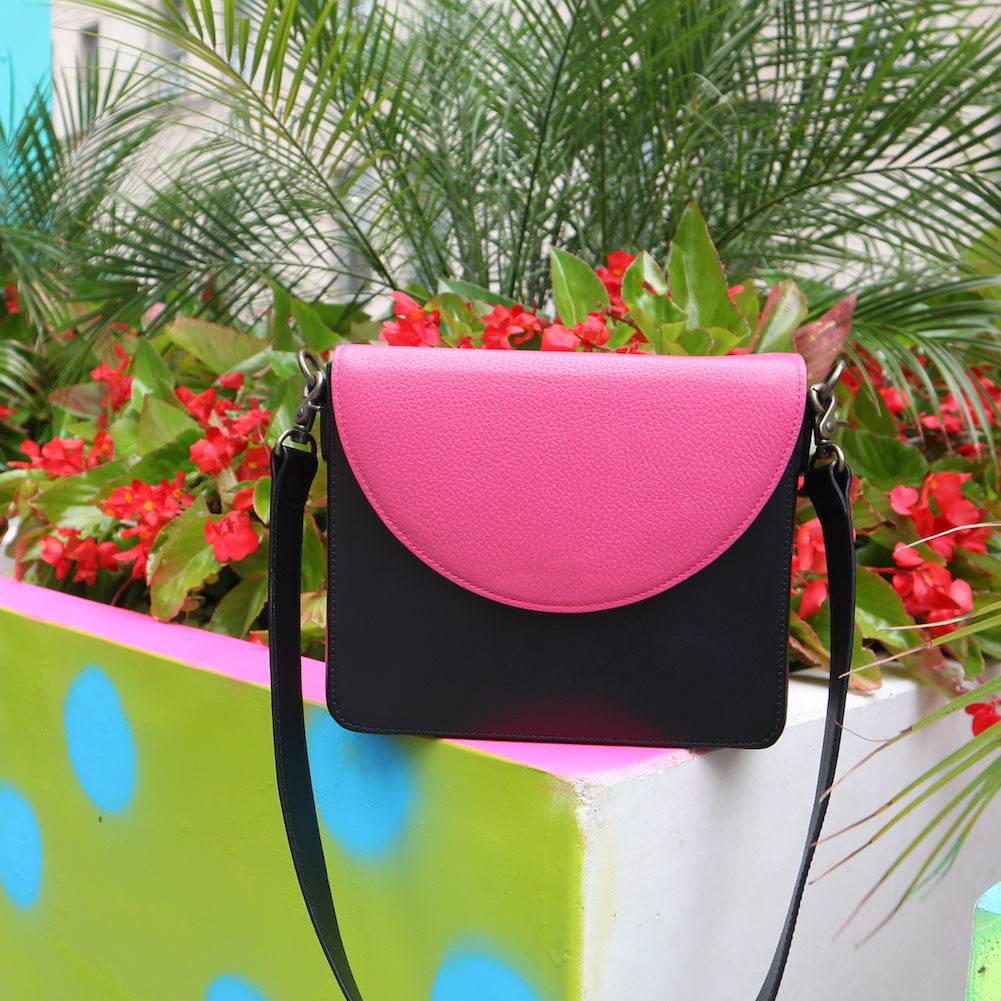 Black Leather Bag with Hot Pink half-moon flap