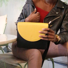 Black Leather Bag with Yellow half-moon flap