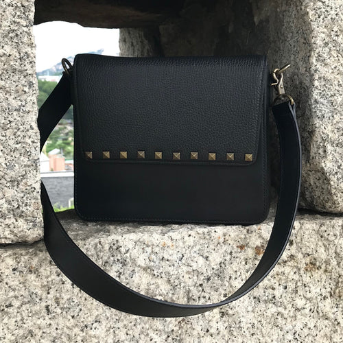Black Leather Bag with Black Rectangular Studs flap