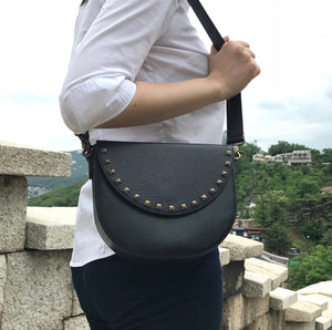 Black Leather Saddle Bag with Half-moon Studs flap