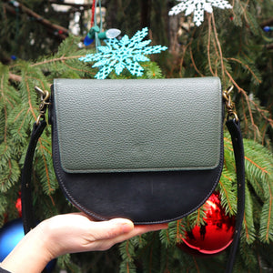Black Leather Saddle Bag with Dark Olive Green Rectangular Flap