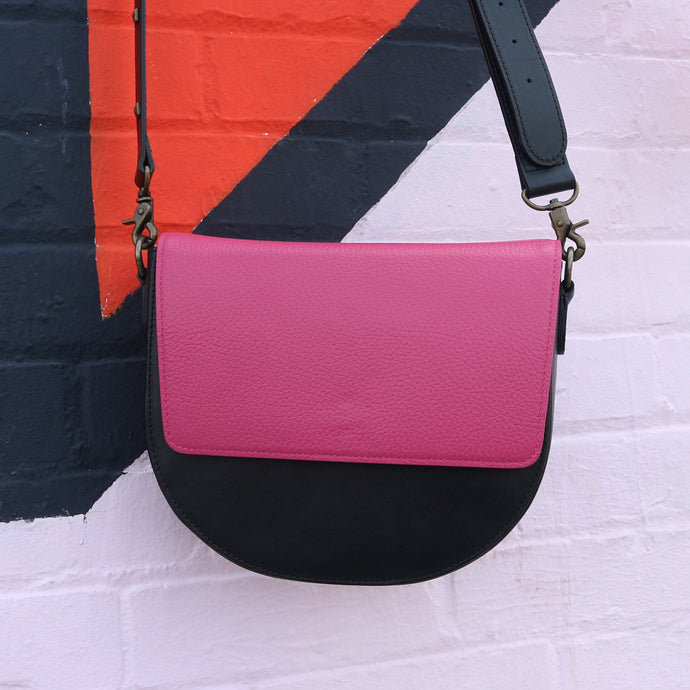 Black Leather Saddle Bag with Hot Pink Rectangular Flap
