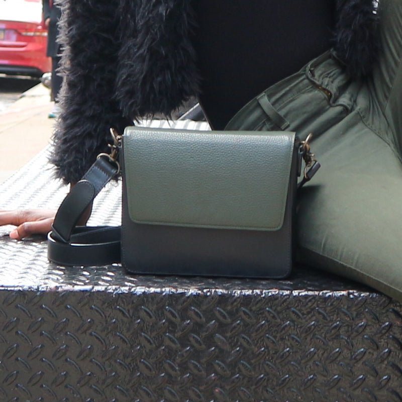 Black Leather Bag with Dark Olive Green rectangular flap
