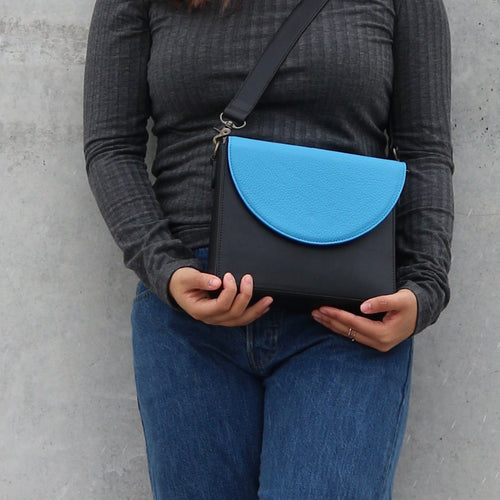 Black Leather Bag with Ocean Blue half-moon flap