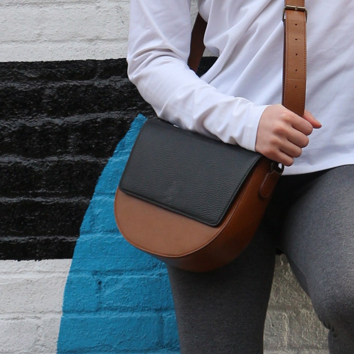 Brown Leather Saddle Bag with Black rectangular Flap