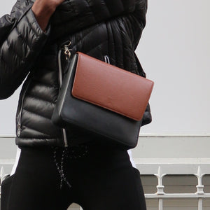 Black Leather Bag with Brown Rectangular flap