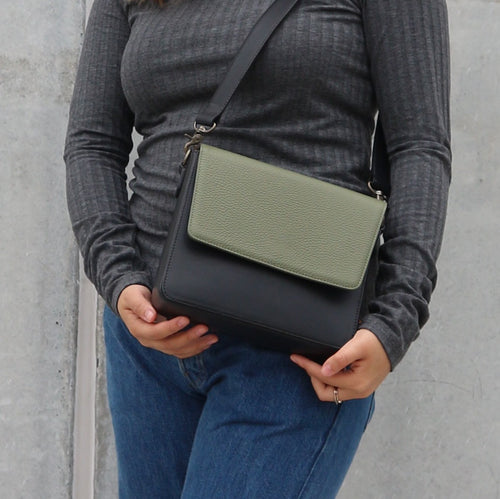 Black Leather Bag with Light Olive Green rectangular flap