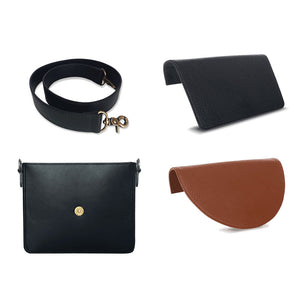 Back To Basics Bundle: Interchangeable Women's Handbag with Black Body and Strap, and Brown and Black Flaps