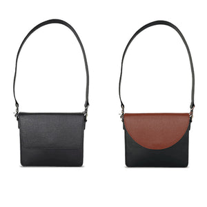 Back To Basics Bundle: Interchangeable Women's Handbag with Black Body and Strap, and Brown and Black Flaps Side by Side