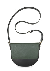 Black Half-moon Body with Dark Olive Green Rectangular Flap