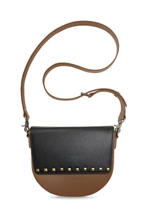 BandalHalf-moon-Body-Brown-NemoRectangular-Flap-BlackStud-Cross-body-Strap-Brown