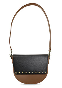 BandalHalf-moon-Body-Brown-NemoRectangular-Flap-BlackStud-Shoulder-length-Strap-Brown