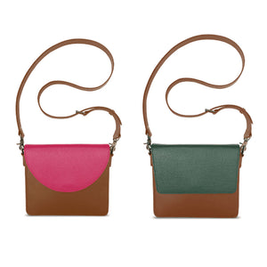 Brighten Your Day Bundle: Interchangeable Handbag Women's Premium Leather Brown with Pink and Green Flap Side By Side