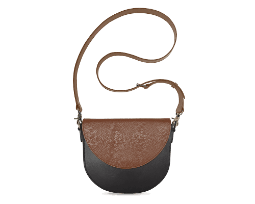 BandalHalf-moon-Body-Black-BandalHalf-moon-Flap-Brown-Crossbody-Strap-Brown