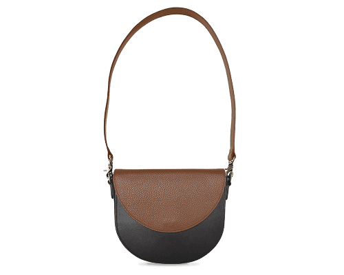 BandalHalf-moon-Body-Black-BandalHalf-moon-Flap-Brown-Shoulder-Strap-Brown