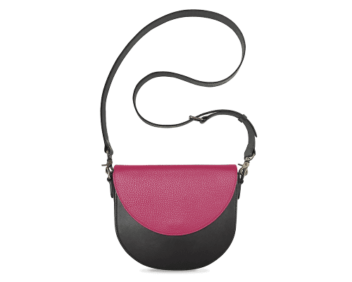 BandalHalf-moon-Body-Black-BandalHalf-moon-Flap-HotPink-Crossbody-Strap-BlackStud