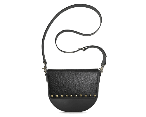 BandalHalf-moon-Body-Black-NemoRectangular-Flap-BlackStud-Crossbody-Strap-Black