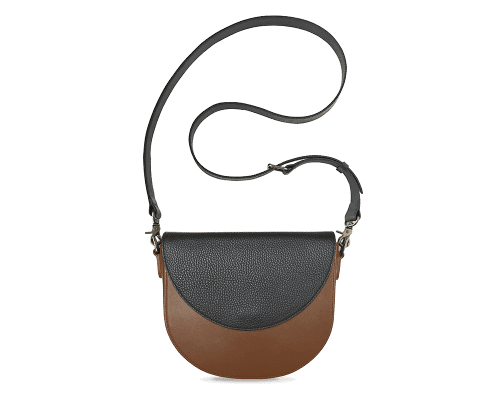 BandalHalf-moon-Body-Brown-BandalHalf-moon-Flap-Black-Crossbody-Strap-Black