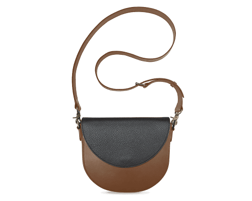 BandalHalf-moon-Body-Brown-BandalHalf-moon-Flap-Black-Crossbody-Strap-Brown