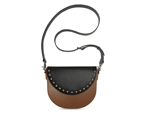 BandalHalf-moon-Body-Brown-BandalHalf-moon-Flap-BlackStud-Crossbody-Strap-Black