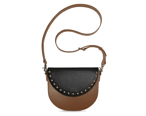 BandalHalf-moon-Body-Brown-BandalHalf-moon-Flap-BlackStud-Crossbody-Strap-Brown