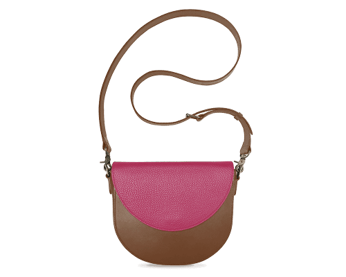 BandalHalf-moon-Body-Brown-BandalHalf-moon-Flap-HotPink-Crossbody-Strap-Brown